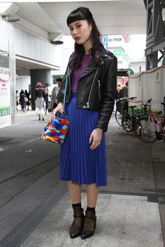 Leather w/ crop top and long pleated skirt.They Are Wearing: Tokyo Fashion Week Fall 2015