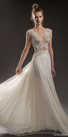 emanuel brides 2018 bridal cap sleeves deep v neck heavily embellished bodice sexy romantic soft a line wedding dress keyhole back sweep train (12) mv