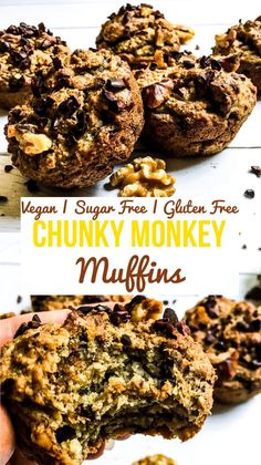Healthy Snacks Discover Chunky Monkey Muffins (Vegan Sugar Free Gluten Free) - My Planted Plate Start the morning off right with this sugar free vegan chunky monkey muffins recipe! Perfect when on the go these muffins are sweet nutty and delicious! Sugar Free Muffins, Gluten Free Muffins, Healthy Muffins, Gluten Free Baking, Healthy Baking, Vegan Banana Muffins, Vegan Breakfast Muffins, Sugar Free Breakfast, Healthy Food