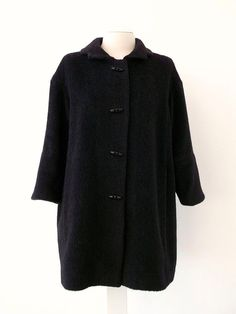 Large Black Alpaca and wool Coat Luci Lü by twyggi. Explore more products on http://twyggi.etsy.com