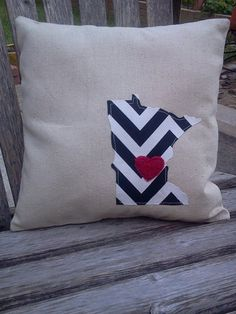 Minnesota Love Pillow 12x12 made to order by augustsparrow on Etsy, $15.00