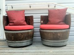Two round seat cushions from CushionSource.com were made in Sunbrella Logo Red indoor/outdoor fabric, and they fit these wine barrel seats beautifully. CushionSource.com Customer Photo