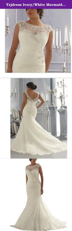 Yxjdress Ivory/White Mermaid Plus Size Sleeveless Wedding Dresses For Bride. Dear friends,Welcome to our store,all dresses are made to order,before place the order please select right size and color,if you are not sure your size please let me know your measurements: bust/waist/hips/shoulder to floor/height.Thank you for your cooperation!.