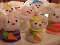 Bunnies!  DIY Craft - simple sock bunnies!  No sew, filled w/ rice!   they are multiplying fast so fun to make!