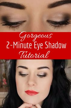 Love this eyeshadow look! This two minute eyeshadow tutorial looks great with any eye color. Great eyeshadow for brown eyes or eyeshadow for blue eyes.