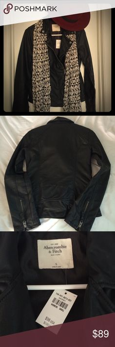 NWT A&F LEATHER MOTO JACKET 🌙 Beautiful jacket that would be the perfect go-to jacket for fall and winter. It's faux leather and I think it's labeled vegan leather jacket on their site. Size small, but I think it runs a little big which is why I'm selling. Zippers on sleeves along with quilted moto detailing. The collars and flaps are bendable to get them at the perfect angle. The back is cut a little bit higher like a real MOTO jacket style. Arms are a little long. ASK QUESTIONS👍 NO…
