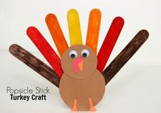 This adorable popsicle stick turkey craft is fun for kids to make and adds a splash of fall color and cuteness to your holiday table!