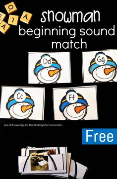 This snowman beginning sound match is such a fun winter literacy center for Pre-K and Kindergarten, and a great way to work on letters and sounds!