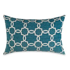 """Really loving this """"Moroccan Style"""" pillow! Linked Tile Teal Oblong Toss Pillow - Bed Bath & Beyond Kitchen Wall Tiles, Kitchen Backsplash, Toss Pillows, Bed Pillows, Cushions, Teal Living Rooms, Rustic Cabinets, Master Bedroom Makeover, Teal And Grey"""