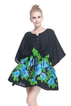 74f8395fcb86 Poncho Dress Top Luau Tropical Cruise Hawaiian Tie Beach Plus Size Black  Blue BD