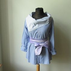 Blue and White Striped Oversized Tunic for Women. Upcycled Shirts, Recycled Clothing Ideas, Mens Shirt Refashion by Garage Couture