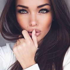 Beautiful eye makeup. Brown, pink and black.