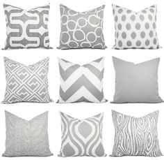 Various print throw pillows for my bedroom. Grey, Kelly Green, or Pink on WHITE (no cream). Throw Pillow Covers Two Grey and White by CastawayCoveDecor- Taylors Room