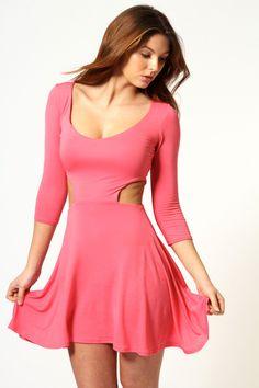 Red dress 3 4 sleeve pink dress