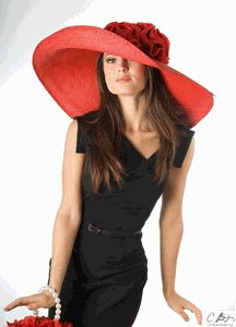 love this big red hat. reminds me of the hat that lucy on gh wore when she married alan quatermain