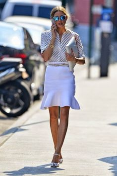 White ruffle shirt with blouse. Polished work look.