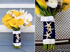 nautical wedding theme navy blue yellow wedding flowers bouquets