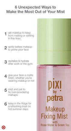 Whether your wear a lot of makeup or not, make the most of it with Pixi Makeup Fixing Mist. This wonder-working formula has an impressive résumé: In addition to keeping makeup from melting, it also tightens pores, reduces shine, and fixes cake-y-ness. Simply spray to set your makeup (ideally before mascara), then refresh throughout the day to stay hydrated. Spritz before makeup to use it as a primer, too. It smells like roses, isn't sticky, and it's made with antioxidant-rich green…