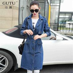 >> Click to Buy << [GUTU] 2017 Spring Autumn New Fashion Long Style Denim Coat Pure Color Long Sleeve Coat Women E2670 #Affiliate