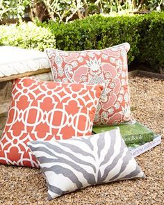 -5RVQ Elaine Smith  St. Bart's Bounty Outdoor Pillow Zebra Lumbar Pillow