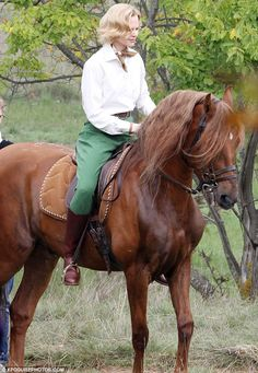 She's a lady: Nicole Kidman was spotted filming Grace of Monaco atop a horse on Friday afternoon #grace #kelly