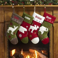 Rustic Hunting Stockings - A @Personal Creations Exclusive! The hunt for a wildlife enthusiast's stocking is over! Crafted with appliqued felt big game silhouettes, our stockings feature stitched edges and accents. We embroider any name, up to 9 characters. Choose from Elk, Moose, Bear or Fish. Made of felt.