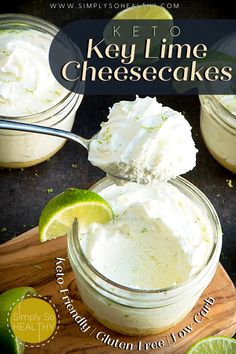 These Keto Key Lime Cheesecakes are easy to make, have balanced sweet-tart flavor and are in single serving dishes to help with portion control. Creamy and delicious! 🍋🍰😋 #lowcarbdessert #ketocakes #lowcarb #keto #Atkins #banting #glutenfree
