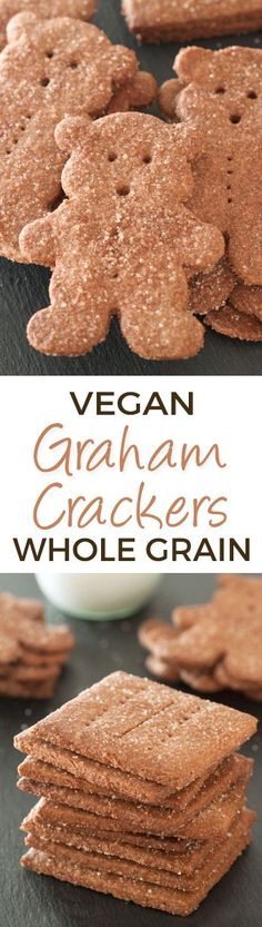 Whole Wheat Vegan Graham Crackers - more shortbread-like and delicious than the store-bought kind!