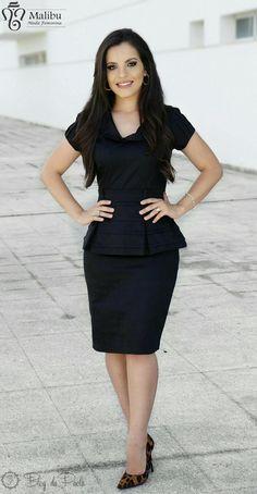 Blog da Paola: Look de Hoje: Vestido Peplum preto