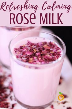 Learn how to make calming and refreshing Rose Milk with Homemade Rose Syrup  using real rose petals. Packed with the goodness of roses it's hard not to fall in love with the vibrant pink color color of this drink and of course the flavors and aroma.  Make a large batch of your Homemade Rose Syrup to whip up a quick drink to quench your thirst or simply enjoy the health benefits.Instant Pot Video Recipe and Stove Top Recipe. Can be made Vegan. Milk Recipes, Sweet Recipes, Real Food Recipes, A Food, Good Food, Yummy Food, Delicious Vegan Recipes, Vegetarian Recipes, Rose Milk