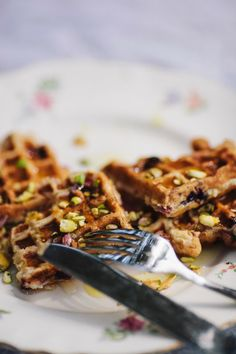 Oatmeal Berry Waffles with Pistachio Orange Syrup by GOLDMINE