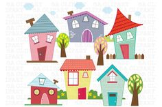 Check out Little Houses Digital Clip Art by SA ClipArt on Creative Market