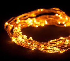 "Dew Drop LED light string Battery Operated (Amber, 20' long, Single Strand - 60 LEDs - 1.5W - 4"" spacing)"