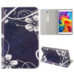 Samsung Galaxy Tab 4 (7.0) Bloemen Flip case, hoesje, cover, blauw