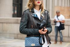 The NYFW Street-Style Looks That Truly Stunned #refinery29  http://www.refinery29.com/2014/09/73987/new-york-fashion-week-2014-street-style-photos#slide33  For girls whom basic black is a little too basic, this moto jacket is a lovely option.