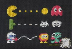 Retro Video Game Photo Trio Cross Stitch Pattern $5.00