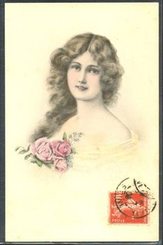 JT140 VIENNE artist signed Illustrateur FEMME BEAUTIFUL LADY ROSES BKWI