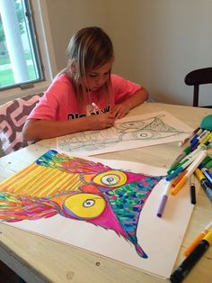 crazy owls - whatever - continuous line drawing - craft idea