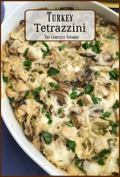 Turkey Tetrazzini is the classic creamy and cheesy pasta dish with mushrooms and leftover holiday turkey, but chicken works too for enjoying all year long. #tetrazzini #leftoverturkeyrecipes #turkey #pasta