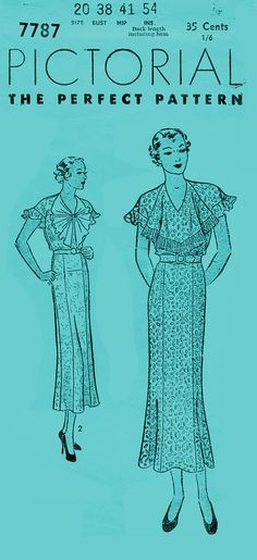 Vintage 1930's sewing pattern Pictorial 7787 dress bust 38