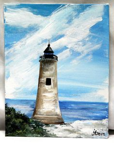 """""""A Cross in the Clouds"""" Lighthouse Painting.  Lighthouse Acrylic painting, 7"""" x 9"""" canvas board, Landscape painting, unframed office canvas art, wall decor art, original acrylic art by ThisArtToBeYours on Etsy"""