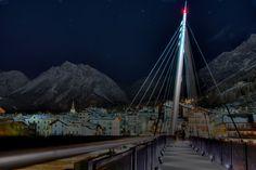 Modern bridge over Torrente Frodolfo in Bormio linking the ski slopes to the historic centre