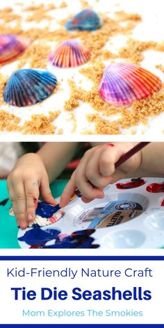 A fun kid-friendly nature craft tie dye seashell craft Mom Explores The Smokies Seashell Crafts, Beach Crafts, Summer Crafts, Fun Crafts, Crafts For Kids, Summer Fun, Summer Activities For Kids, Craft Activities, Summer Science