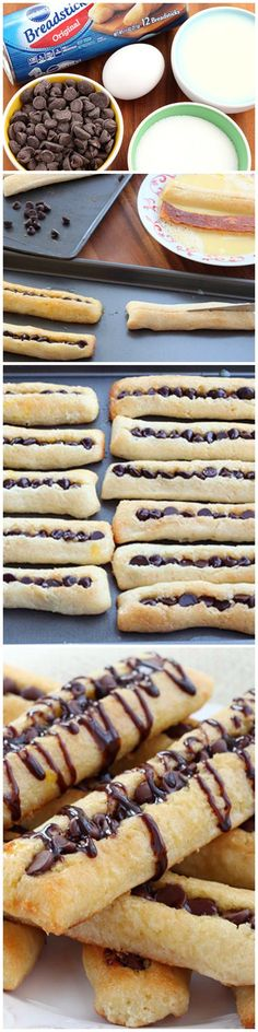 Chocolate-stuffed French Toast Sticks made from breadsticks.