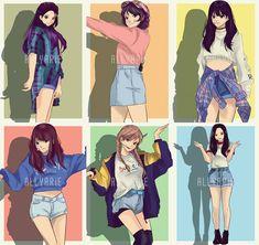 Kpop Girl Groups, Korean Girl Groups, Kpop Girls, Gfriend And Bts, Min Yoonji, Kpop Drawings, Korean Art, G Friend, Kpop Fanart