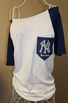 New York Yankees Pocket Off-the-Shoulder Shirt Chevron Baseball on Etsy, $32.00 I NEED this!!! ✌️❤️⚾️