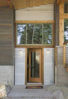 Main entry. Wintergreen Cabin, by Balance Associates Architects. Methow Valley, Washington. #entry
