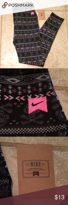 Nike Leggings Girls patterned Nike leggings in size XL. Grey, pink, and black skull and snowflake pattern. Originally $36. Nike Bottoms Leggings