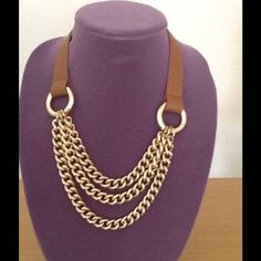 "Banana Republic Leather and gold chain necklace 20"" adjustable gold and real leather Neckless from Banana Republic in great condition Banana Republic Jewelry Necklaces"