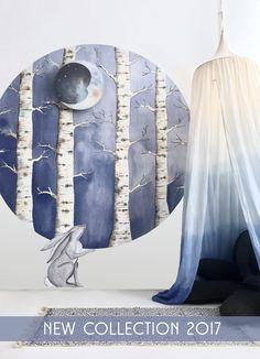 #hartendief #kidsroom #circular #wallpaper #trees #white #forest #numero74 #dipdye #diy #hare #wallsticker #walltattoo #kidsstyling #internationalshipping